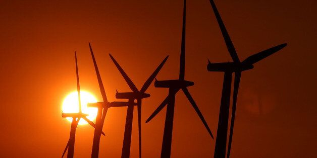 The sun sets over wind turbines near Faringdon, Oxfordshire.
