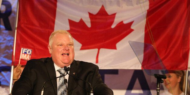 TORONTO, ON- APRIL 17  -  Toronto Mayor Rob Ford launches his re-election campaign at the Toronto Congress Centre  in Toronto