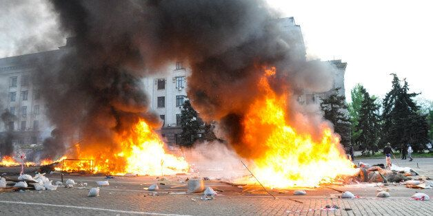 ODESSA, UKRAINE - MAY 2: According to official information, 38 people died in a fire and 30 others were poisoned by carbon mo