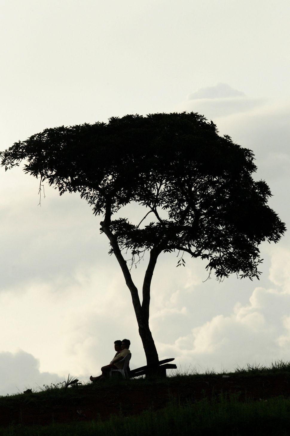 A couple sit under a tree during sunset in Nuevo Vigia on the outskirts of Panama City, Sunday, May 27, 2012. (Arnulfo Franco