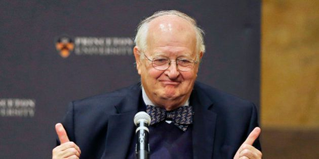 Angus Deaton gestures at a gathering at Princeton University after it was announced that he won the Nobel...