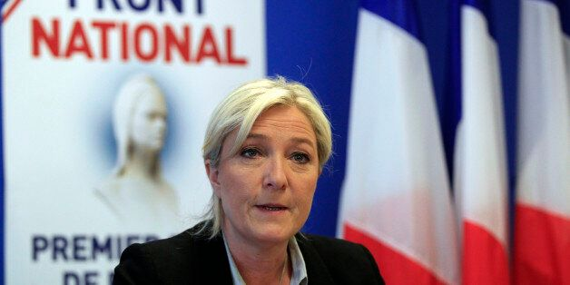NANTERRE, FRANCE - MAY 27:  French far-right party National Front (FN) president Marine Le Pen delivers a speech during a pre