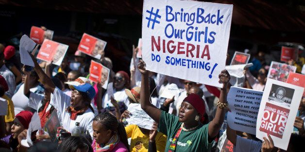 South Africans protest in solidarity against the abduction three weeks ago of hundreds of schoolgirls in Nigeria by the Musli