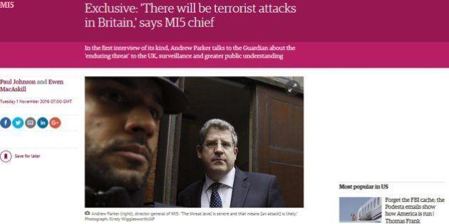 Capo 007 britannici Andrew Parker al Guardian: