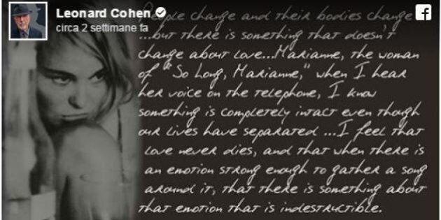 Leonard Cohen e la lettera alla musa di
