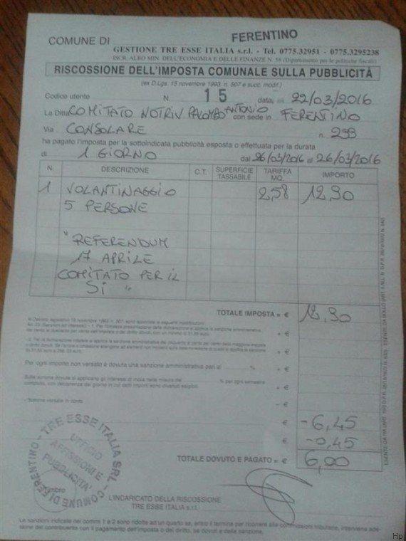Il Comune di Ferentino chiede una tassa sul volantinaggio a chi fa propaganda per il Sì al referendum...