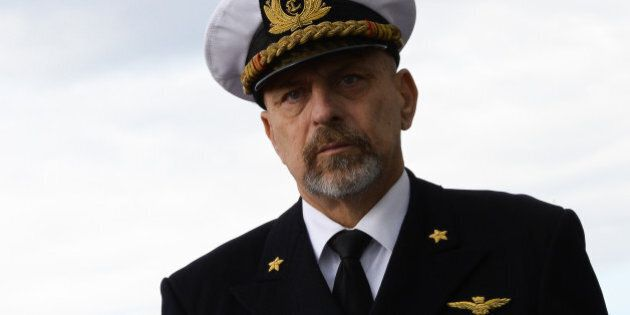 Italian Navy chief of staff Admiral Giuseppe De Giorgi attends a ceremony marking the departure of the...