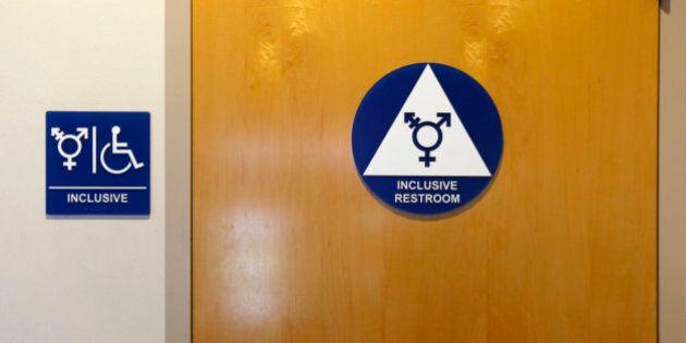 A gender-neutral bathroom is seen at the University of California, Irvine in Irvine, California September...