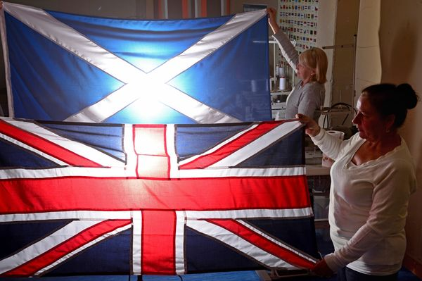 "The ""Union Jack"" flag was born out of the union of the Scottish and English monarchies in the 17th centuries, and was updated"