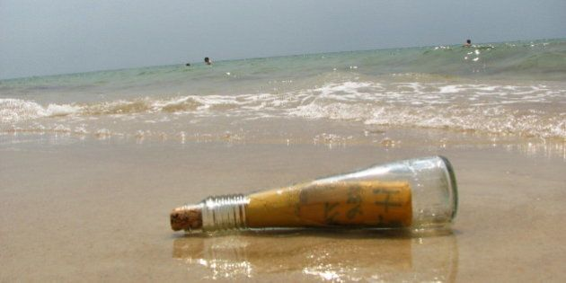 We found this bottle in the water. It felt like in movie