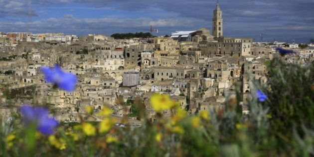 A general view of Matera's Sassi limestone cave dwellings in southern Italy April 30, 2015. With