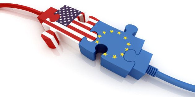 USA and European Union. Digitally Generated Image isolated on white