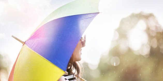 summer rain in the park,