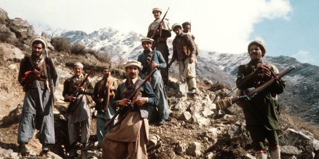 This picture taken in the early 80s shows the premier groups of the Afghan anti-Soviet resistance fighters with their primiti