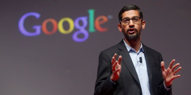Sundar Pichai, Google's senior vice president of products, speaks during a presentation at the Mobile...
