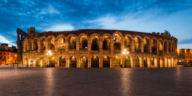 Verona amphitheatre, completed in 30AD, the third largest in the world, at dusk time. Roman Arena in...