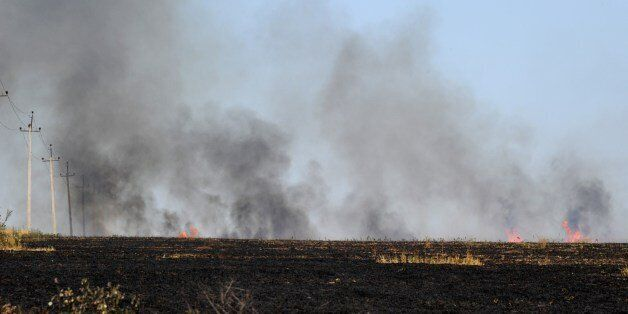 Smoke rises above a field after pro-Russia militants exchanged fire with the Ukranian army near the town of Marynivka, 100 km