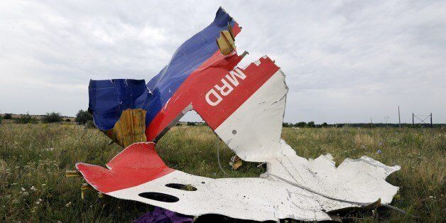 A piece of wreckage of the Malaysia Airlines flight MH17 is pictured on July 18, 2014 in Shaktarsk, the day after it crashed.