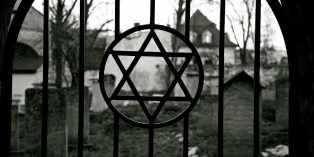 Judaism symbol. Jewish Star of David. Jude Cemetery in Cracow Ghetto. Kazimierz district. Poland. Auschwitz...