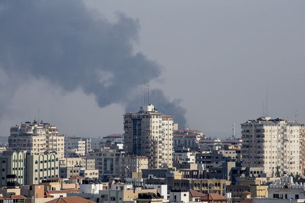 Smoke billows from an area East of Gaza City following Israeli military shelling on July 21, 2014.