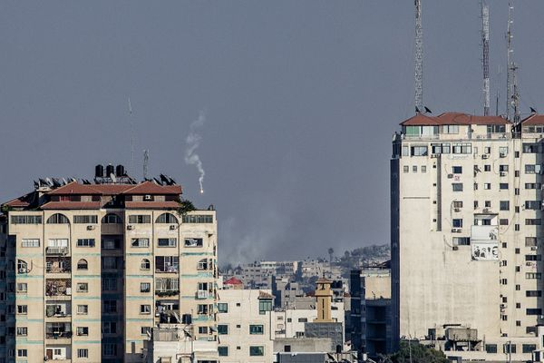 Israeli military flare is seen in an area East of Gaza City on July 21, 2014.