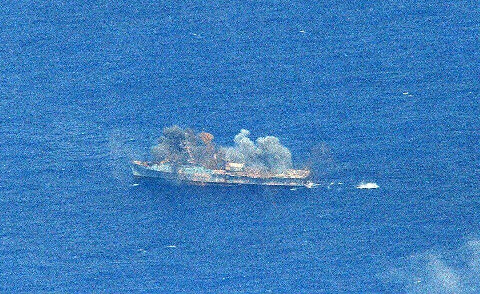The ex-USS Ogden (LPD 5) is hit by a Naval Strike Missile (NSM) from the Royal Norwegian Navy frigate HNoMS Fridtjof Nansen (