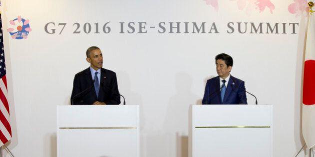President Barack Obama and Japanese Prime Minister Shinzo Abe speak to media in Shima, Japan, Wednesday,...