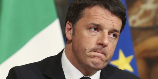 Italian Prime Minister Matteo Renzi speaks condemning the attacks in Belgium, during a news conference...