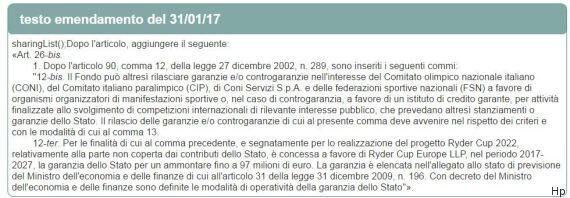 Emendamento Pd al decreto Salva Banche per reinserire i 97 milioni a garanzia della Ryder