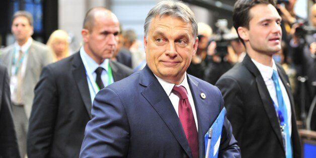 Hungary Prime Minister Viktor Orban arrives on May 27, 2014, to take part in the Informal European Council at the EU Headquar