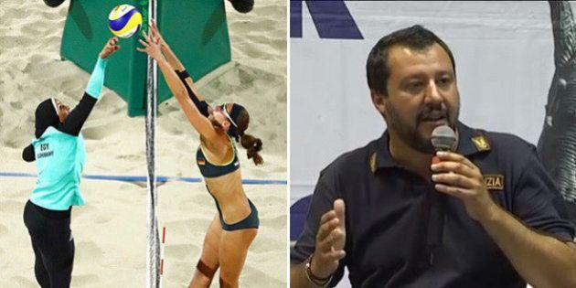 Rio 2016, Matteo Salvini si scaglia contro la foto virale della giocatrice velata di Beach Volley: