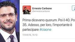 Il renziano Carbone lancia l'hashtag #ciaone contro chi ha votato. Sinistra Italiana: