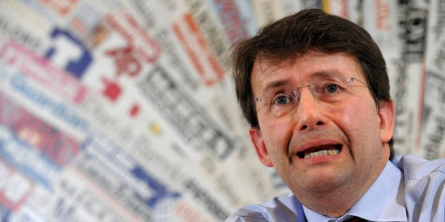 Italy's Democratic Party leader Dario Franceschini answers questions from journalists during a news conference...