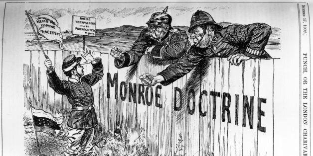 circa 1902:  A caricature of England and Germany responding to the Venezuelan Blockade.  Punch - pub. 1902 Original Artist: B