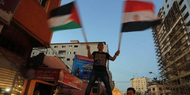 GAZA CITY, GAZA - AUGUST 26 :  Palestinians celebrate the ceasefire between Palestinian resistance factions and Israel in Gaz
