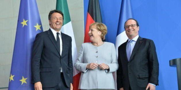 Trilateral Renzi-Merkel-Hollande a bordo della nave Garibaldi al largo di Ventotene per