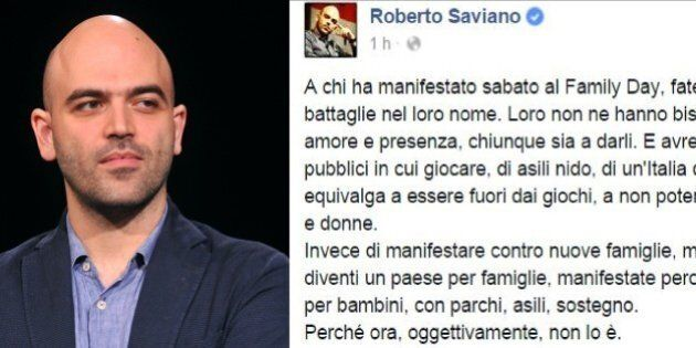 Family Day, Roberto Saviano su Facebook: