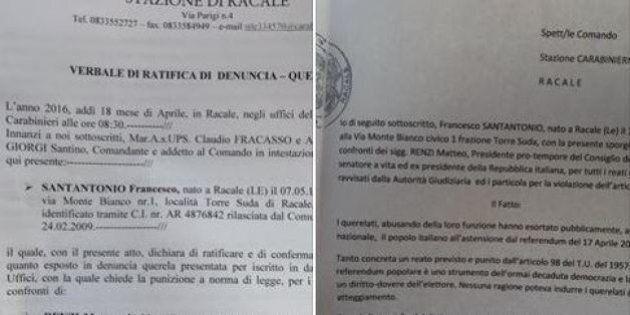 Francesco Santantonio querela Renzi e Napolitano per il Referendum sulle trivelle:
