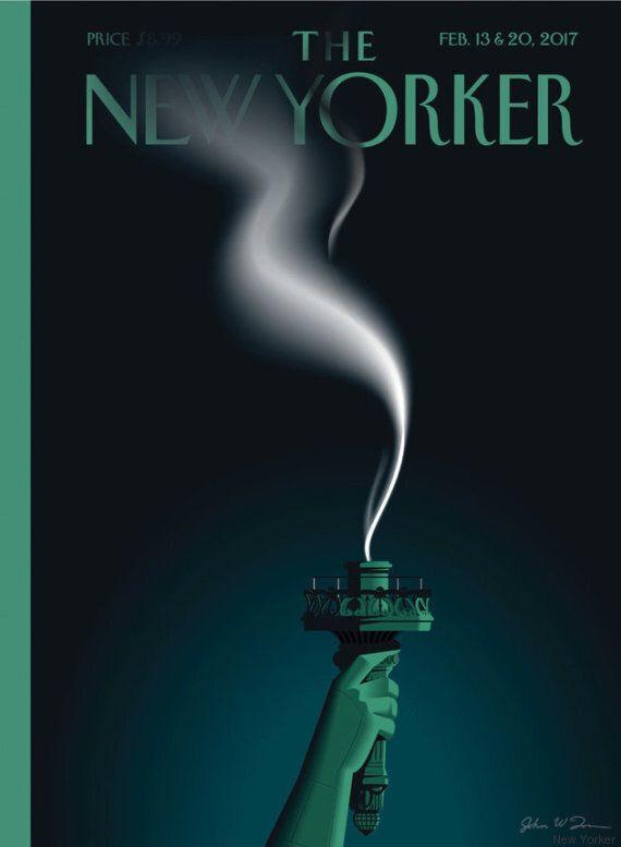 La potente copertina del New Yorker mostra che la torcia della statua della Libertà sta diventando