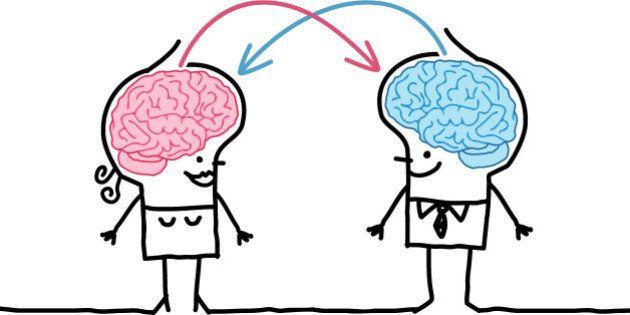 vector hand drawn cartoon characters - big brain couple and