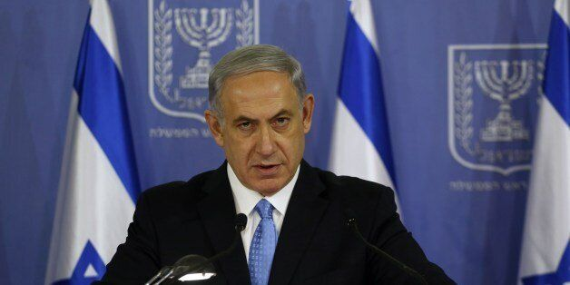 Israeli Prime Minister Benjamin Netanyahu speaks during a joint press conference with Defense Minister (unseen) at the defens