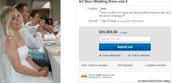 Una sposa ha deciso di mettere all'asta su ebay il suo abito, spiegando il perché in un annuncio brutalmente