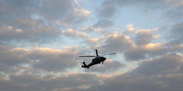 A US Marine helicopter with staff accompannying US President Barack Obama prepares to land in Newport, Wales on September 3,