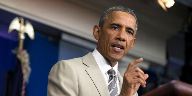 FILE - In this Aug. 28, 2014 file photo, President Barack Obama speaks in the James Brady Press Briefing Room of the White Ho