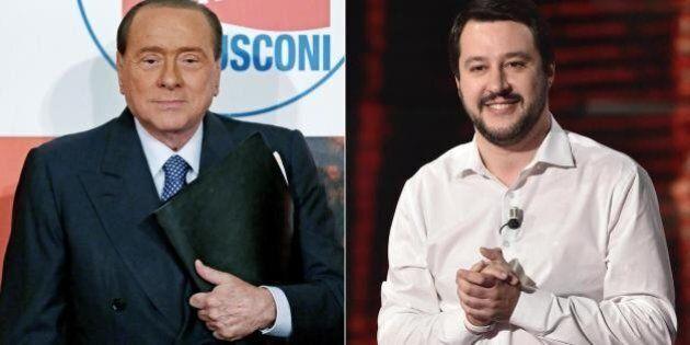 Silvio Berlusconi con Matteo Salvini a Bologna. Città blindata per la manifestazione della Lega