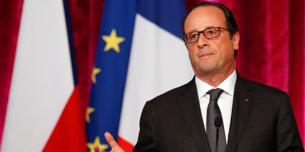 France's president Francois Hollande delivers his speech during a press conference with Czech Republic president Milos Zeman