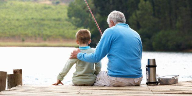 Senior man fishing with