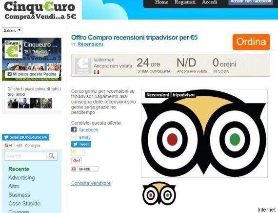 Recensioni positive a pagamento su TripAdvisor, 270 euro per 15