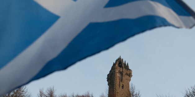 A Scottish Saltire flag blows in the wind near the Wallace Monument, Stirling, Scotland. Thursday, Jan. 12 2012.    This week