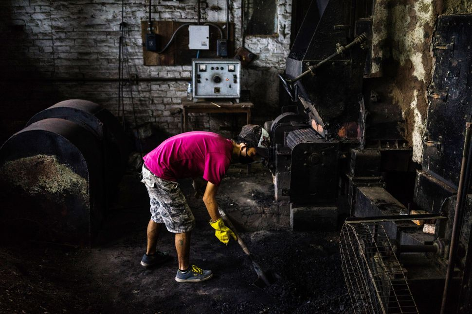 A worker shovels coal at the Makaibari Tea Estate factory in Kurseong, West Bengal, India, on Monday, Sept. 8, 2014.